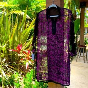 Hand-stitched sheer 100% cotton cover up - new